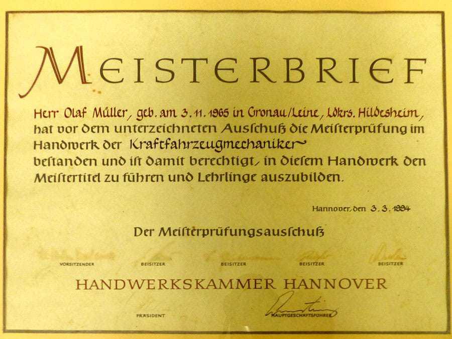 Meisterbrief Olaf Müller Kraftfahrzeugmechaniker