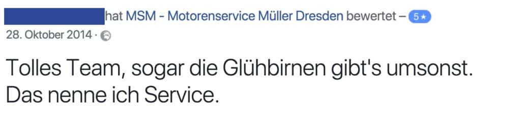 Bewertung Kundenmeinungen Motorenservice Müller