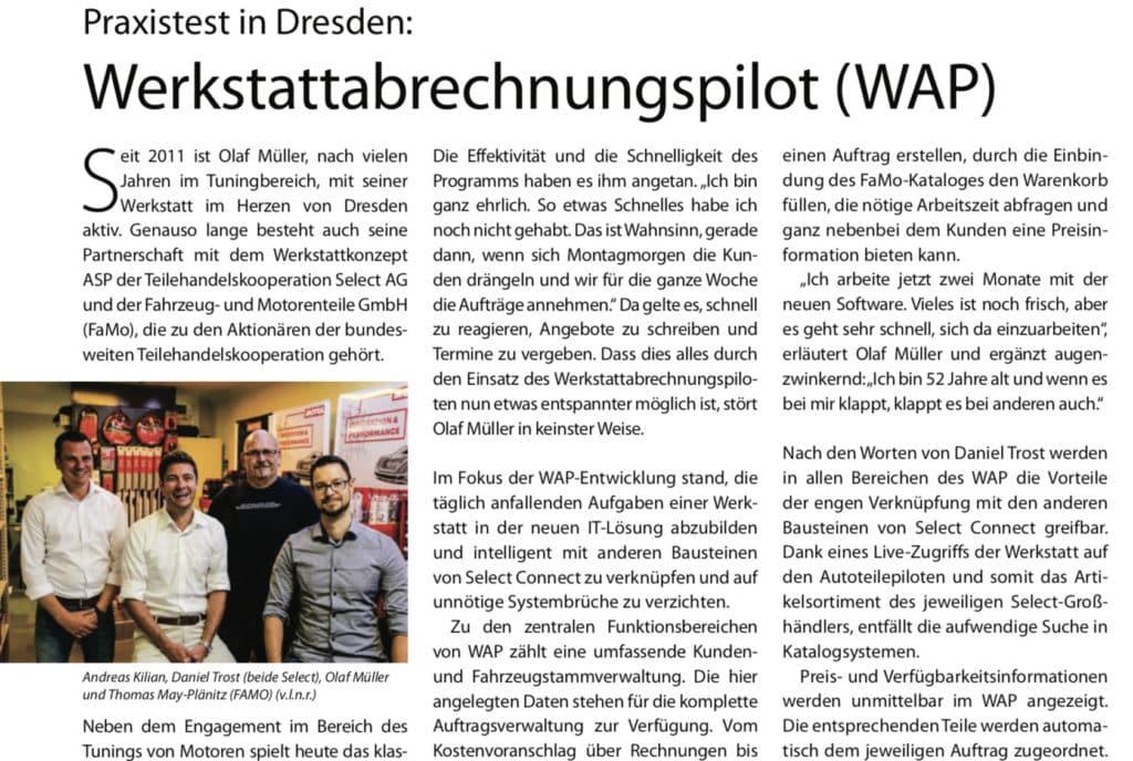 Artikelauszug zu Werkstattabrechnungspilot von FreieWerkstatt.de
